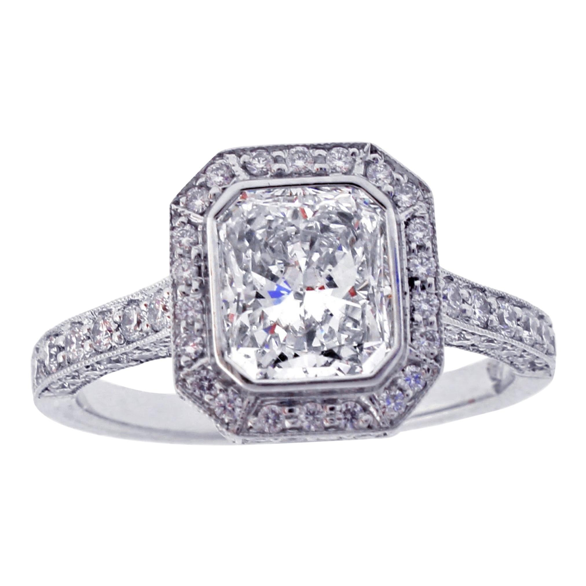 Radiant Cut Halo Diamond Engagement Ring