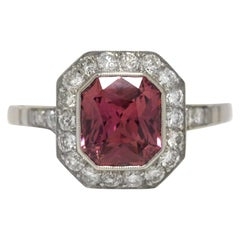 Pink Sapphire Engagement Ring GIA Certified Natural Unheated Platinum