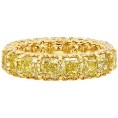 Radiant Cut Yellow Diamond Eternity Wedding Band