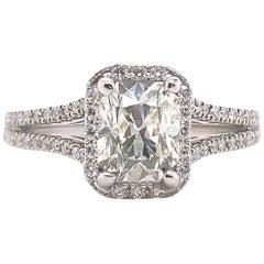 Radiant Diamond 1.68 Carat Halo Design Engagement Ring 14 Karat White Gold GIA