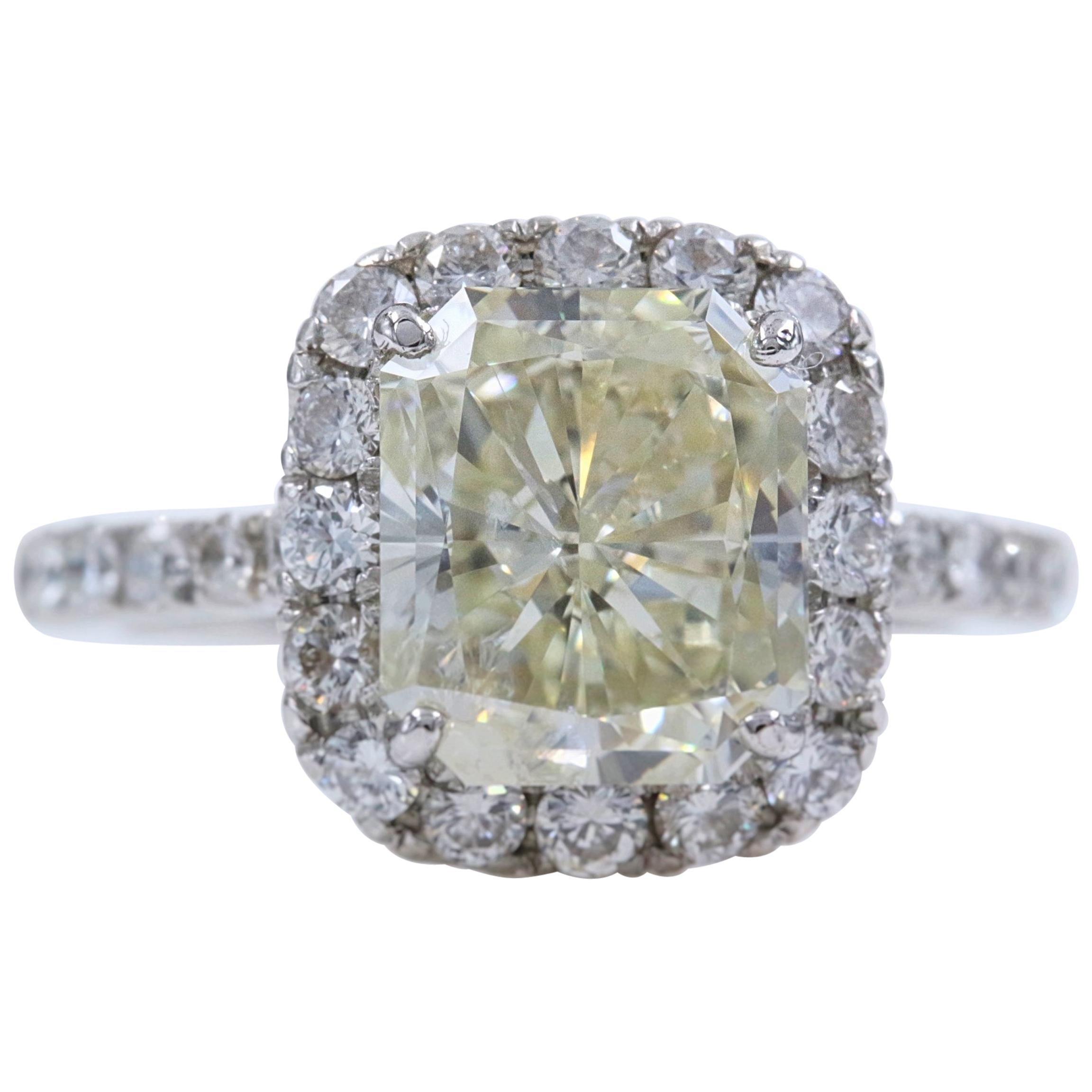 Radiant Diamond Engagement Ring Halo Design 4.61 Carat Set in Platinum
