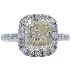 Radiant Diamond Engagement Ring Halo Design 4.61 Carat Set in Platinum