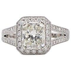 Radiant Diamond Engagement Ring Halo Diamond Band 2.96 TCW in 18k White Gold