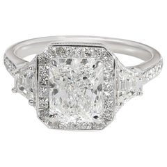 Radiant Halo Diamond Engagement Ring in Platinum GIA Certified F VVS2 2.81 Carat