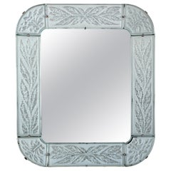 Radiant Mid-20th Century Swedish Chiseled and Frosted Glass-Framed Mirror