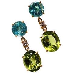Radiant Peridot and Apatite Dangle Earrings