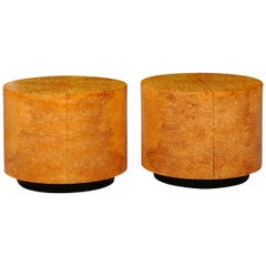 Radiant Restored Pair of Large Scale Olivewood Cylinder Tables, circa 1975
