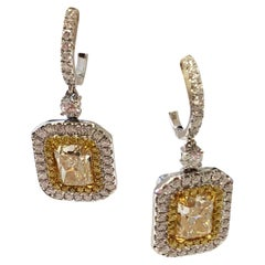 Radiant Yellow Diamond Dangle Earrings in 18 Karat Yellow Gold