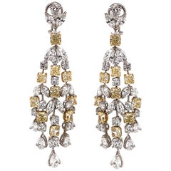 Radiant Yellow Diamonds 11.49 ct Pear Marquis Round Chandelier 18k Gold Earrings
