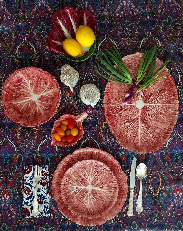 Modern Radicchio Hand Painted Ceramic Aperitivo Leaf Plate For Sale
