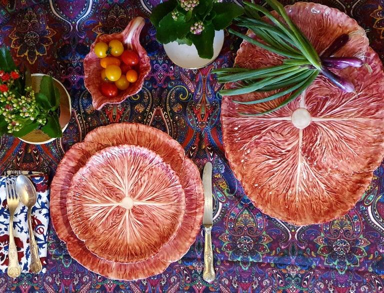 Contemporary Radicchio Hand Painted Ceramic Aperitivo Leaf Plate For Sale