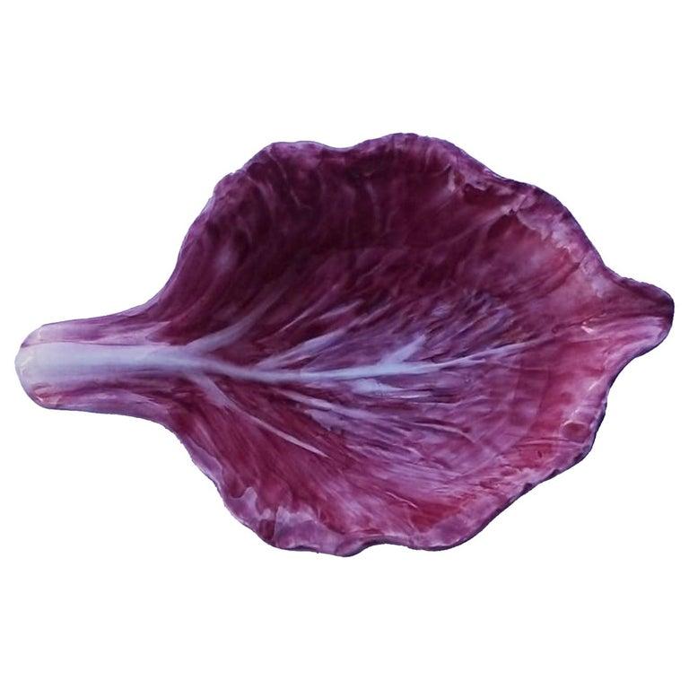 Radicchio Hand Painted Ceramic Aperitivo Leaf Plate For Sale
