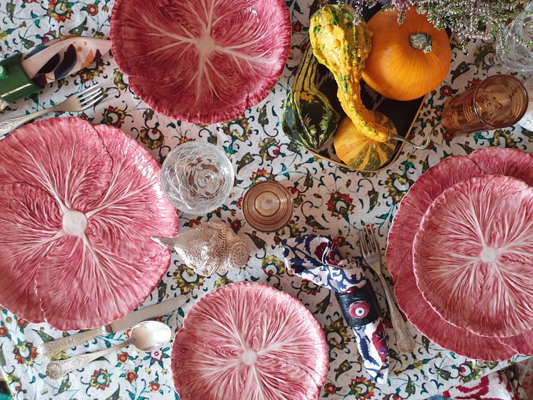 Modern Radicchio Hand Painted Ceramic Dinner Plate, Made in Italy For Sale