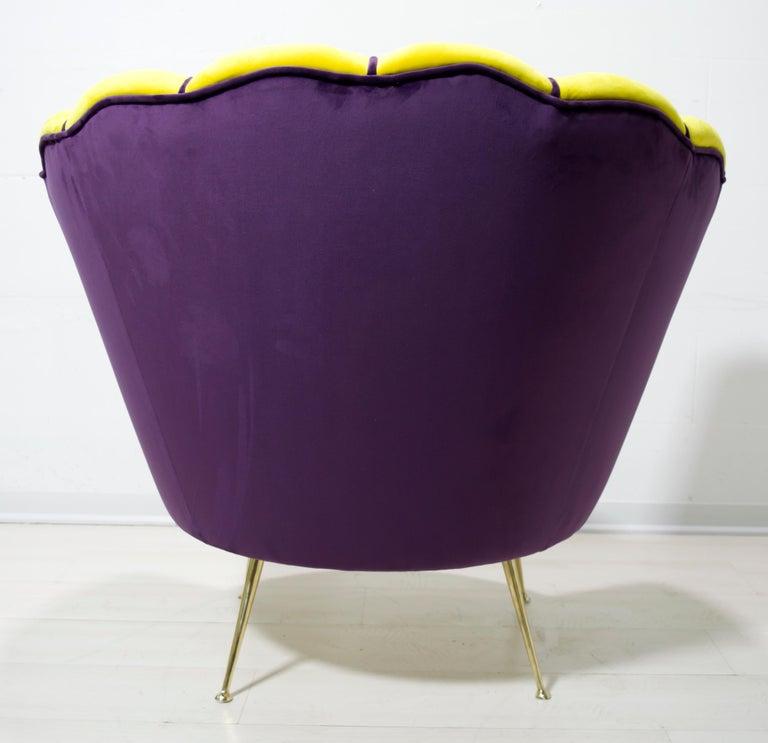 Brass Radice & Minotti Mid-Century Modern Italian Velvet Armchair, 1950s For Sale