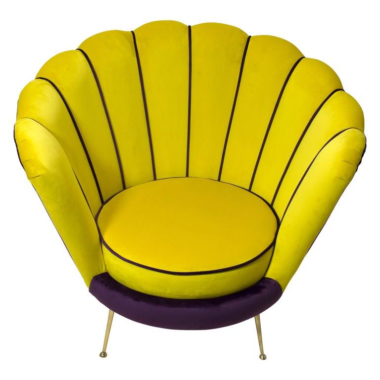 Radice & Minotti Mid-Century Modern Italian Velvet Armchair, 1950s For Sale