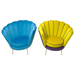 Radice & Minotti Style Armchair, 1950s Style, 39 Colors of Italian Velvet