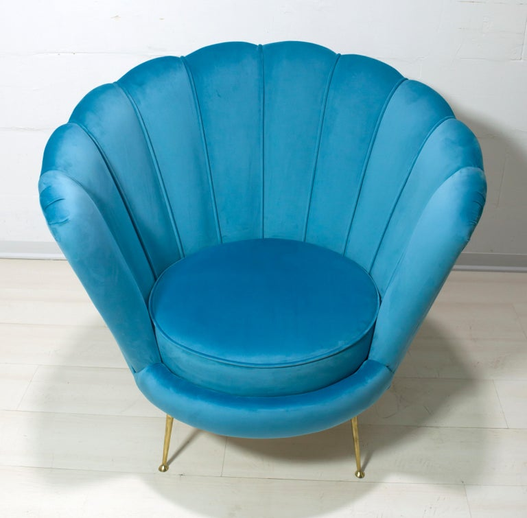 Contemporary Radice & Minotti Style Armchair, 1950s Style, 39 Colors of Italian Velvet For Sale