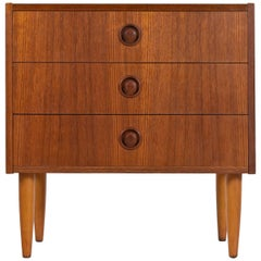 Radio Knob Style Teak Danish Modern Nightstand Chest of Drawers