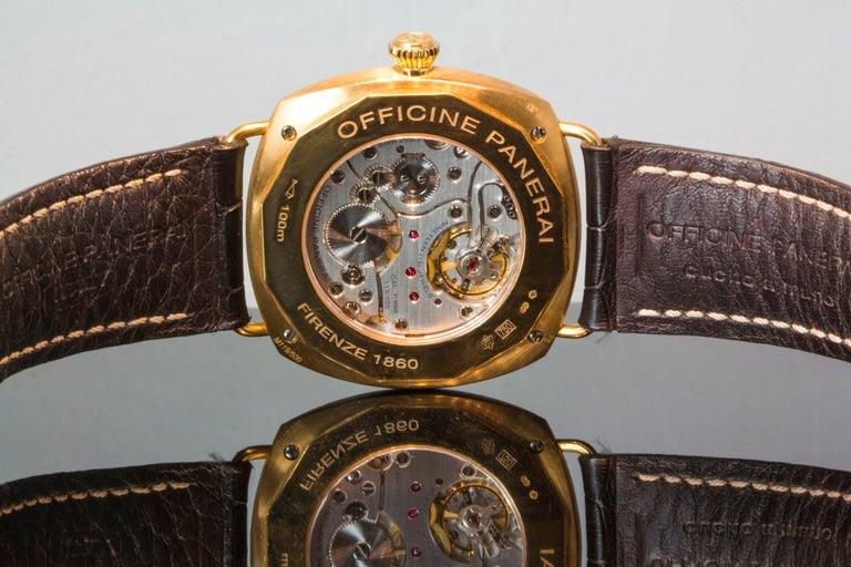 Modern Radiomir Panerai Rose Gold Oro Rosso Mechanical Wristwatch Ref PAM00336 For Sale