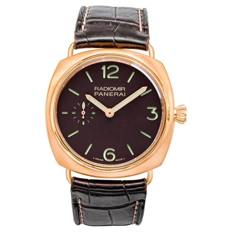 Radiomir Panerai Rose Gold Oro Rosso Mechanical Wristwatch Ref PAM00336 For Sale