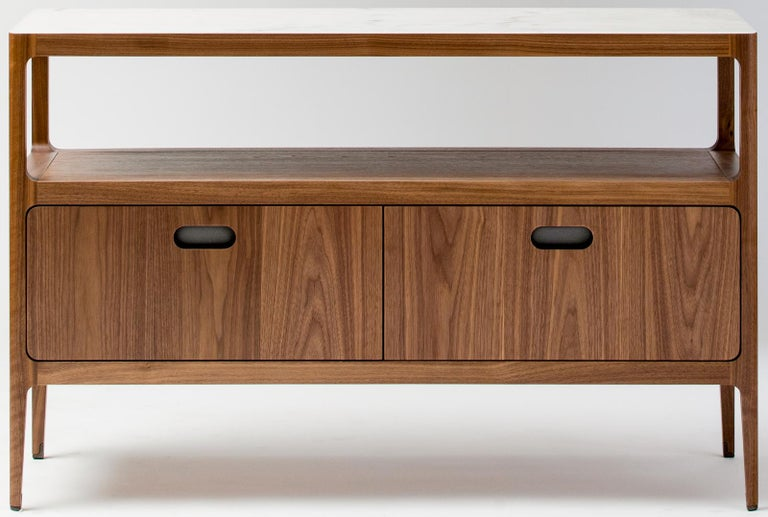 Modern Radius Credenza with Two Drawers in Walnut with Alabaster Resin Top For Sale