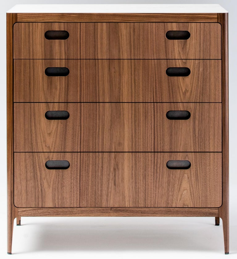 Mid-Century Modern Customizable Four-Drawer Dresser from Munson Furniture in Walnut  For Sale