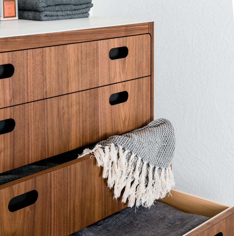 Blackened Customizable Four-Drawer Dresser from Munson Furniture in Walnut  For Sale