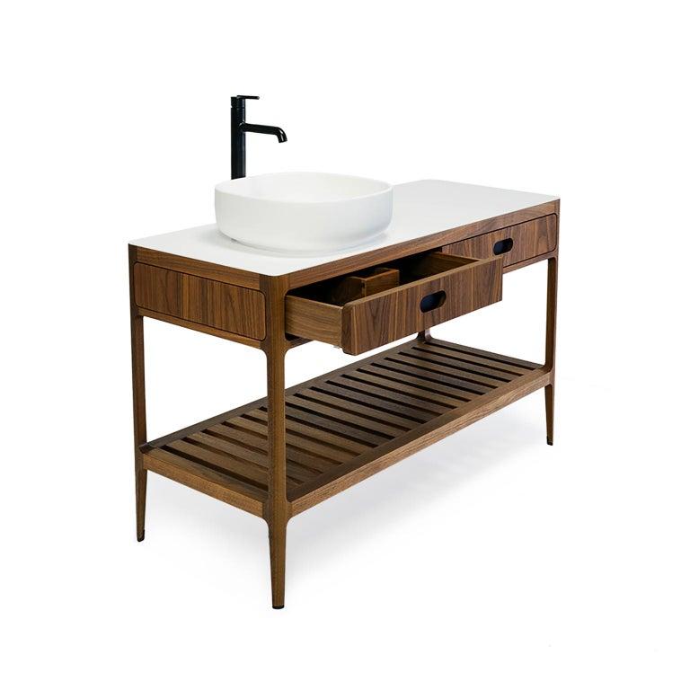 Blackened Customizable Freestanding Vanity by Munson Furniture For Sale