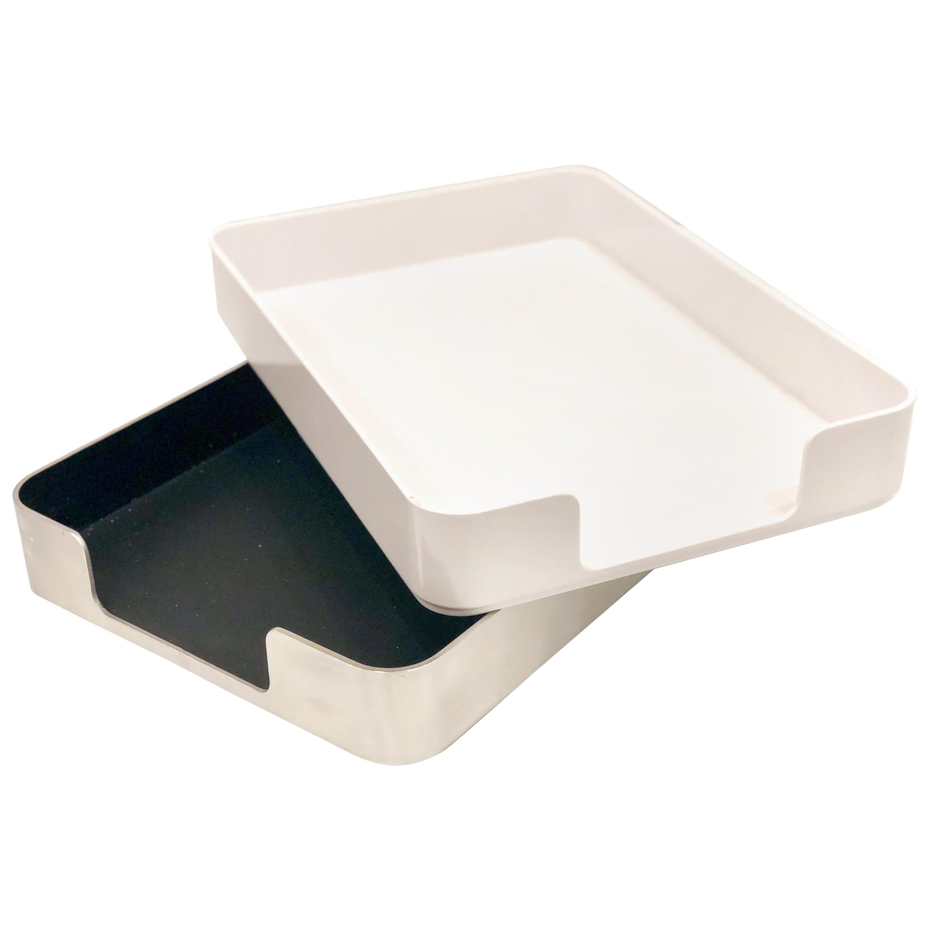 Radius One Double Letter Tray by William Sklaroff in Chrome & White Plastic