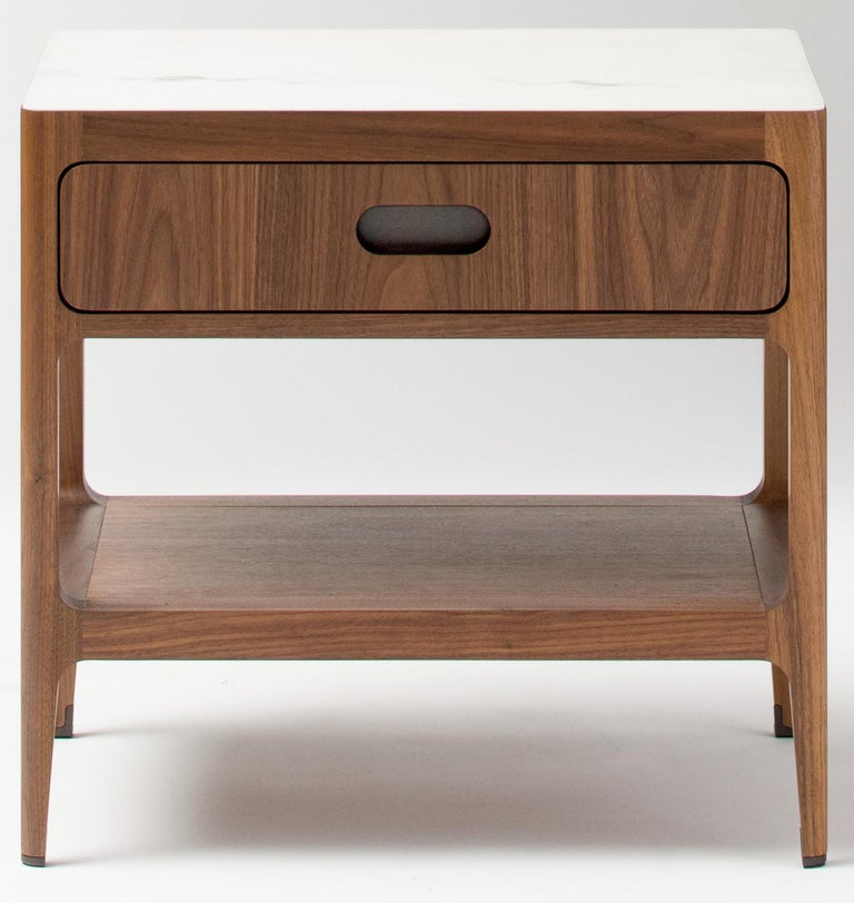 Mid-Century Modern Customizable End Table or Nightstand with Drawer and Shelf by Munson Furniture For Sale