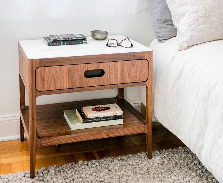American Customizable End Table or Nightstand with Drawer and Shelf by Munson Furniture For Sale