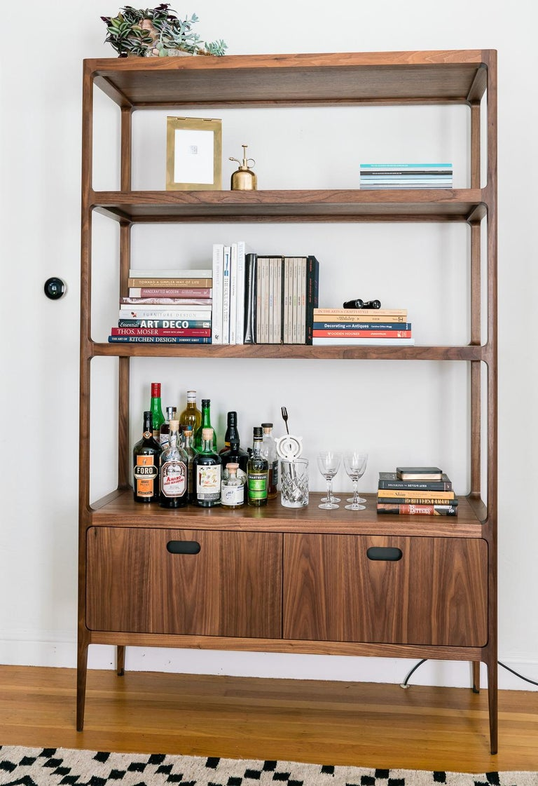 Modern Customizable Étagère with Solid Shelves and Two Drawers by Munson Furniture For Sale