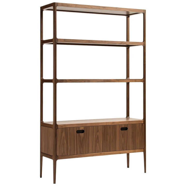 Customizable Étagère with Solid Shelves and Two Drawers by Munson Furniture For Sale