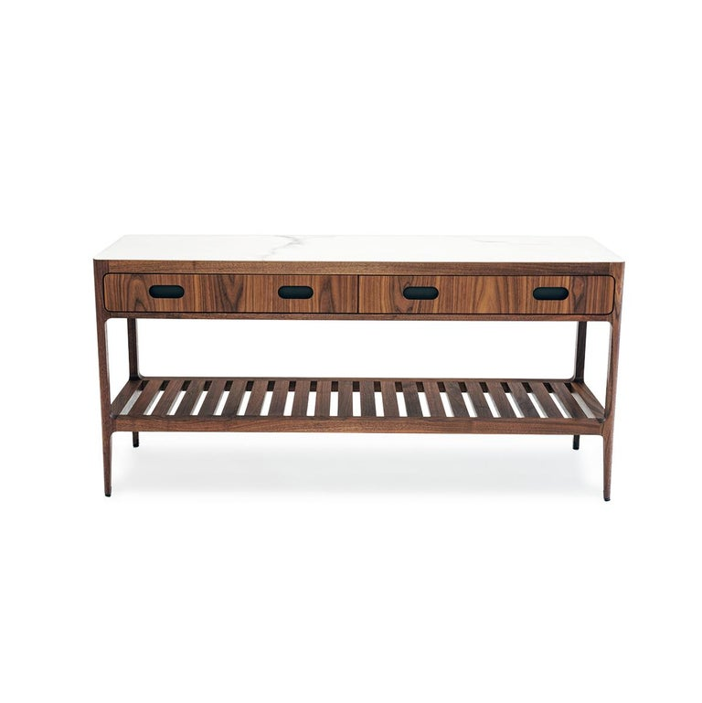 Mid-Century Modern Customizable Radius Two-Drawer Console Table in Walnut by Munson Furniture For Sale