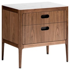 Radius Two-Drawer Side Table or Nightstand in Walnut with Alabaster Resin Top