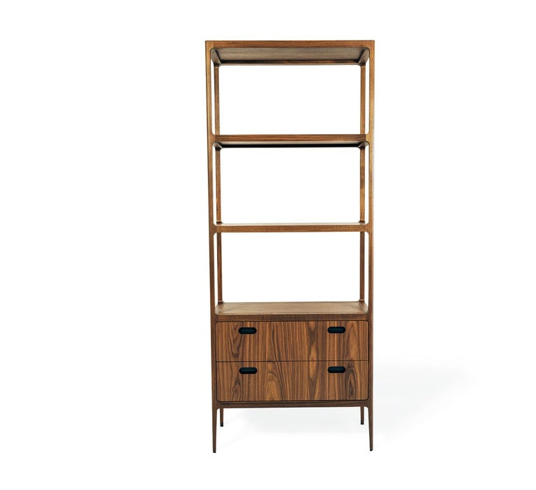 Mid-Century Modern Customizable Two-Drawer Étagère by Munson Furniture with Blackened Brass Details For Sale