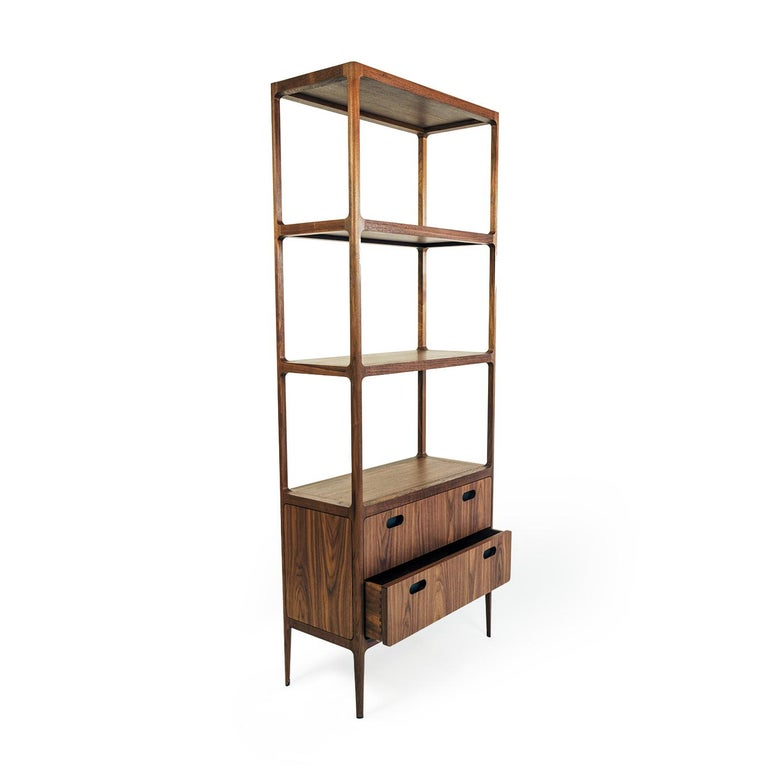 American Customizable Two-Drawer Étagère by Munson Furniture with Blackened Brass Details For Sale