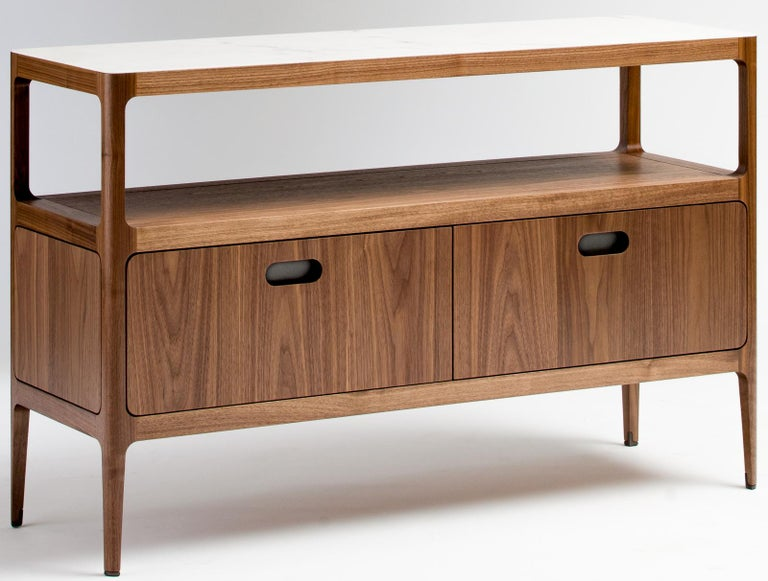 Customizable Two-Drawer Étagère by Munson Furniture with Blackened Brass Details For Sale 1