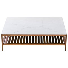 Radius Walnut Coffee Table with Alabaster Resin Top and Blackened Brass Details