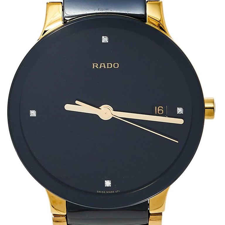 Contemporary Rado Black Gold PVD Ceramic Centrix Jubile 115.0929.3 Men's Wristwatch 38 mm
