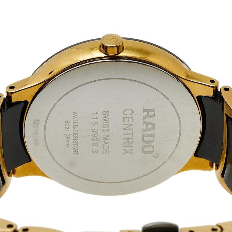 Rado Black Gold PVD Ceramic Centrix Jubile 115.0929.3 Men's Wristwatch 38 mm In Good Condition In Dubai, Al Qouz 2