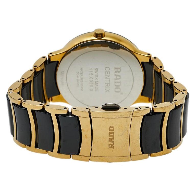 Rado Black Gold PVD Ceramic Centrix Jubile 115.0929.3 Men's Wristwatch 38 mm 1