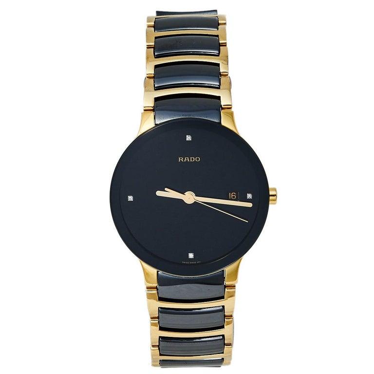 Rado Black Gold PVD Ceramic Centrix Jubile 115.0929.3 Men's Wristwatch 38 mm