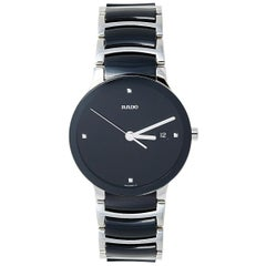 Rado Black Stainless Steel Ceramic Centrix Diamonds Unisex Wristwatch 38 mm