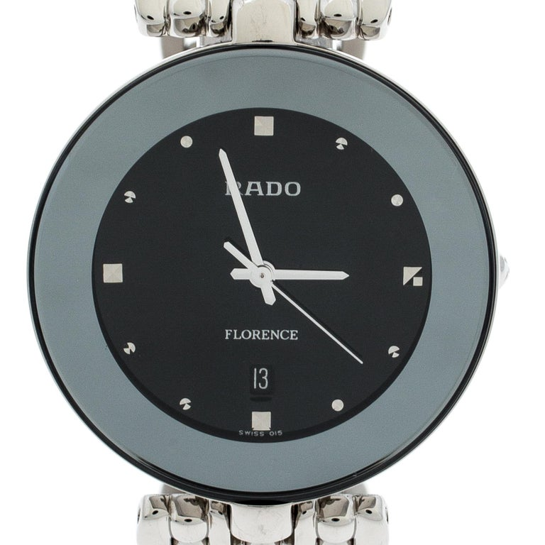Contemporary Rado Black Stainless Steel Florence 01.129.3742.4.015 Men's Wristwatch 32 mm For Sale