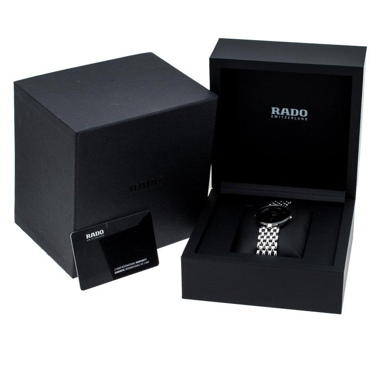Rado Black Stainless Steel Florence 01.129.3742.4.015 Men's Wristwatch 32 mm For Sale 4