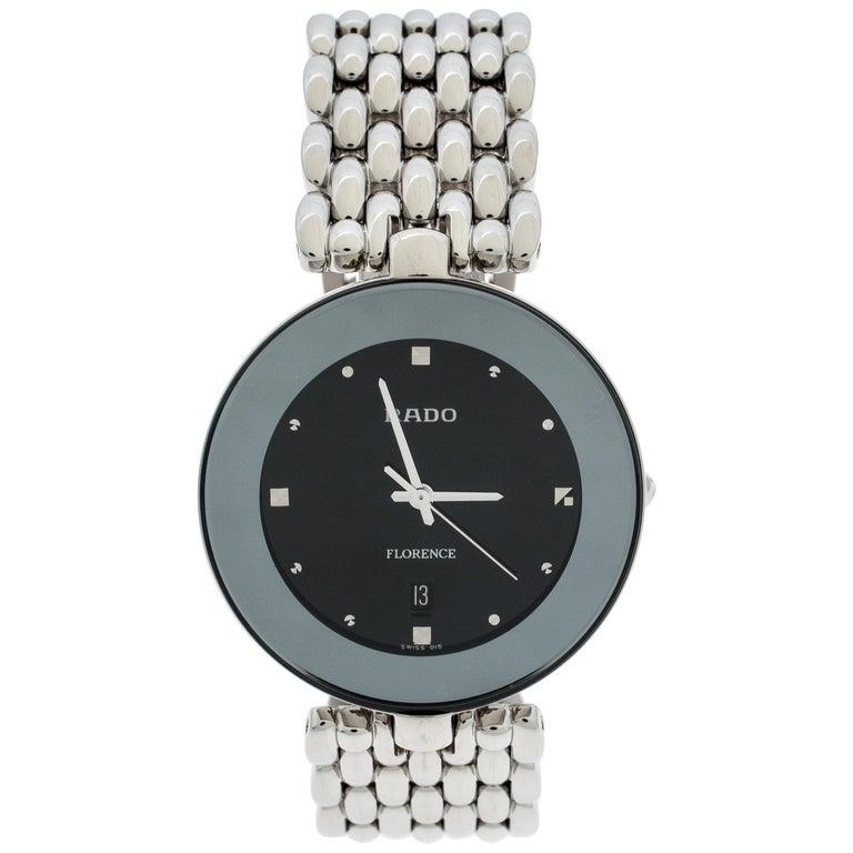 Rado Black Stainless Steel Florence 01.129.3742.4.015 Men's Wristwatch 32 mm For Sale
