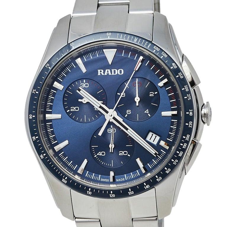 Contemporary Rado Blue Stainless Steel HyperChrome R32259203 Chrono Men's Wristwatch 44 mm