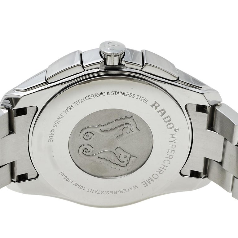Rado Blue Stainless Steel HyperChrome R32259203 Chrono Men's Wristwatch 44 mm In Good Condition In Dubai, Al Qouz 2