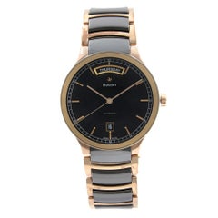 Rado Centrix Steel Ceramic Two-Tone Black Dial Automatic Mens Watch R30158172